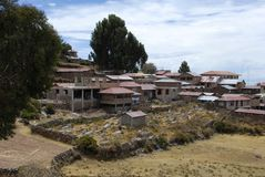 Village on Taquile island Stock Image