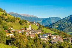 Village Telves in hills near Vipiteno in Italian Trentino royalty free stock photography