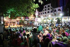 Village temple festival tamilnadu india. 01 july 2015 tamilnadu india. people gathered in front of a temple premises to watch the dance performance of village Stock Image