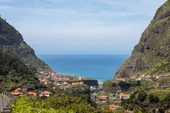 Village and Terrace cultivation in the surroundings of Sao Vicente. North coast of Madeira Island,. Portugal stock photo