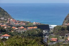 Village and Terrace cultivation in the surroundings of Sao Vicente. North coast of Madeira Island,. Portugal stock image