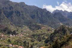 Village and Terrace cultivation in the surroundings of Sao Vicente. North coast of Madeira Island. Portugal royalty free stock photos