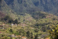 Village and Terrace cultivation in the surroundings of Sao Vicente. North coast of Madeira Island. Portugal royalty free stock photo