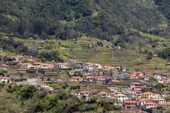 Village and Terrace cultivation in the surroundings of Sao Vicente. North coast of Madeira Island,. Portugal stock images