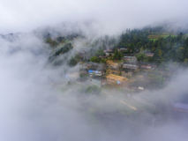 The  village & thick fog Stock Photo