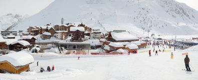 Village of Tigne le Lac covered with snow in winter, the Alps France. Village of Tigne le Lac covered with snow in winter, the Alps, France stock photo