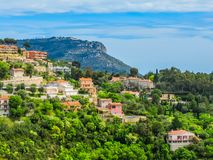 Village at the top of a hill. Provence, France stock images