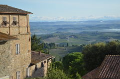 Village toscan de San Gimignano, en Italie du nord-ouest Photos stock