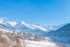 Village with towers in the Valley of Caucasus Stock Images