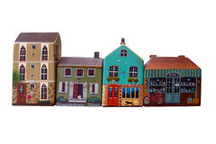 Village toy. Little weekend village with natural colored toy blocks on white background Royalty Free Stock Images
