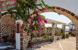 Village of traditional Greek taverna on Santorini island Royalty Free Stock Photography