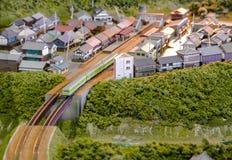 Village train diorama. Train on a railway village diorama in Sagano Scenic Railway station. Sagano, Northern Kyoto. Japan Royalty Free Stock Photos