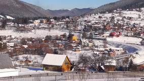 Village trian move mountain winter. Train in railways move on village in mountain stock footage