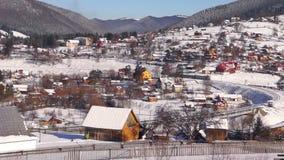 Village trian move mountain winter stock footage