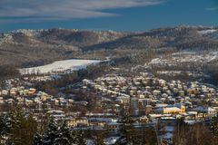 The village Tryavna in winter. Sunset Royalty Free Stock Photos