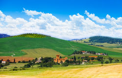 Village in Tuscany landscape, Italy Royalty Free Stock Photos