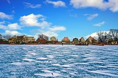 The village UItdam in the Netherlands in winter. The village UItdam on a cold winter day in the Netherlands Stock Photography