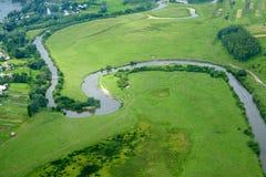 Village ukrainien - vue aérienne. Photographie stock libre de droits