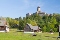 Village under castle royalty free stock images