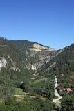 Village under stone dam Tara mountain Stock Images