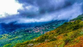 Village Under the Storm stock photography