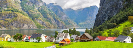 The Village of Undredal in Norway. Panoramic view of the Village of Undredal in Norway Stock Photo