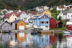 Village of Undredal. View of the village of Undredal on the shore of Aurlandsfjord, Sognefjord, Norway Stock Photos