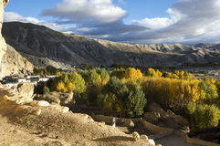 Village of Upper Mustang in the fall. Niphu village with vibrant colors of autumn: yellow, green, ocher Royalty Free Stock Photo