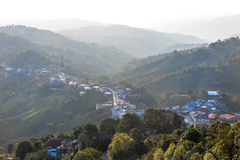 Village urbanization in the mountain and forest Stock Image