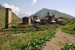 Village Usghuli  in Svaneti, Georgia. Very beautiful and UNESCO village Usghuli in Upper Svaneti, Georgia Royalty Free Stock Photos