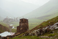 Village Ushguli in Upper Svaneti in Georgia Stock Photography
