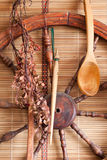 Village utensils. Old village utensils like a decor on the wall Royalty Free Stock Photos