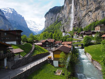 Village in Valley in Swiss Alps Royalty Free Stock Images