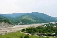 Village in valley Stock Photo