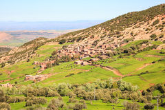 Village in the valley of atlas mountain Stock Image