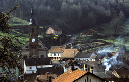 Village in the Valley in Eastern France Stock Photo