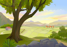 A VILLAGE IN A VALLEY stock illustration