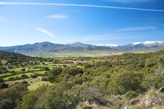 Village valley at gredos mountains Royalty Free Stock Image
