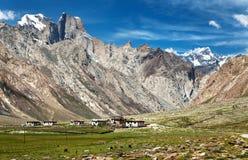 Village in valley and Nun Kun range Stock Photo