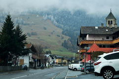 Village in valley and traffic road with alps mountain in Bolzano or bozen at Italy. Village in valley and traffic road with alps mountain in Trentino-Alto valley stock photo