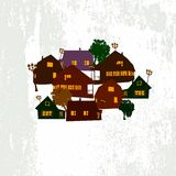 Village vector. Background lantern tree Royalty Free Illustration