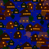 Village vector. Background seamless pattern Stock Illustration