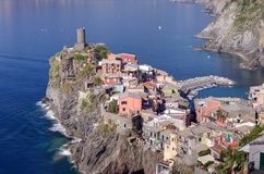 Village of Vernazza, one of the Cinque Terre, Italy. Scenic view of the village of Vernazza, one of the Cinque Terre on the Italian coast Royalty Free Stock Photo