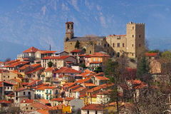 Village of Vernet Les Bains in Pyrenees, Languedoc-Roussillon. Vernet les Bains in Cady valley, Pyrenees, Languedoc-Roussillon, France royalty free stock photography