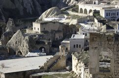 Village view from Cappadocia with ruins remained fron ancient times stock photo
