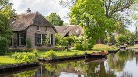 Village view on Dwarsgracht Giethoorn Stock Image