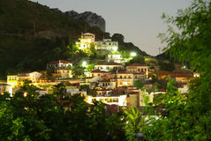 Village view by night. View of a village in Evia, Greece by night stock image