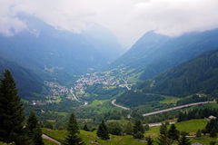 Village view in Swetzerland on a foggy day from above Stock Image