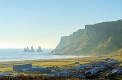 Village of  Vik on the south coast of Iceland Royalty Free Stock Image