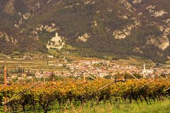 A village and vineyard on mountain in the province of Bolzano late autumn. A village and vineyard on mountain in the province of Bolzano at the late autumn royalty free stock photography